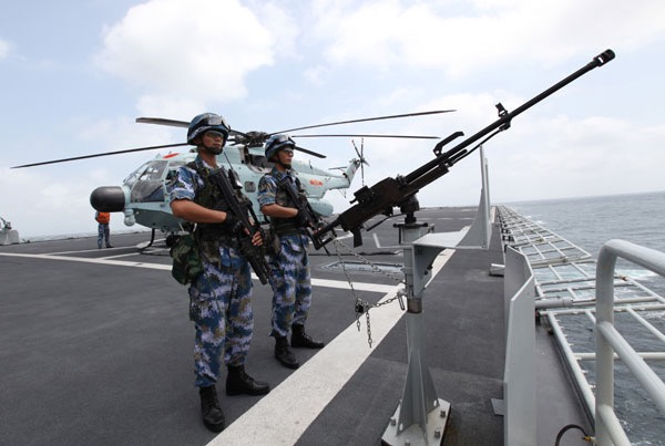 Chinas amphibious landing ship Changbaishan during an escort mission in the Gulf of Aden PhotoXinhua
