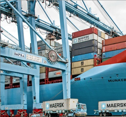 Maersk container dockside