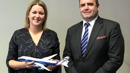 UK Aviation Minister Baroness Sugg and David Kerr CEO of CargoLogicAir 456x257