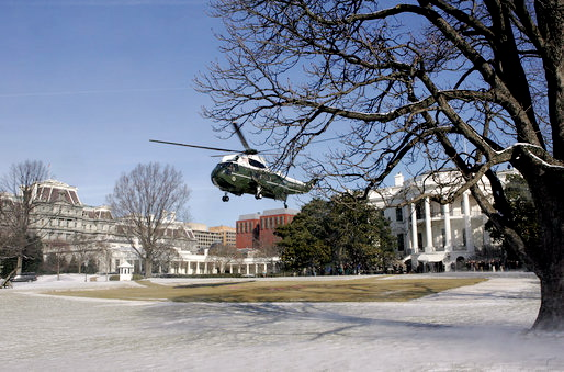 White House and Marine One in winter